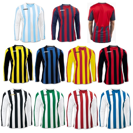 be34c1b5109 Joma Copa Stripe Long Sleeve Football Shirts Adults - Premier Teamwear