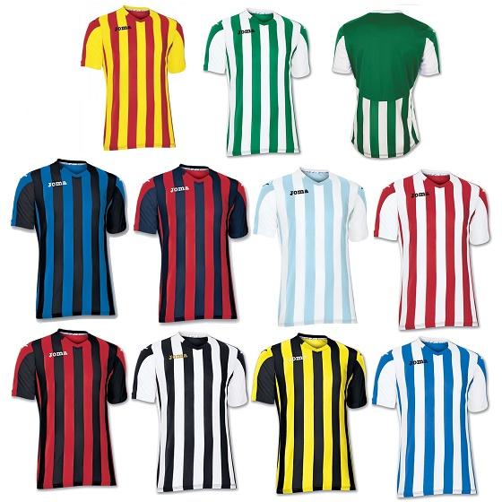 8289baf750 Joma Copa Stripe Short Sleeve Football Shirts Kids - Premier Teamwear